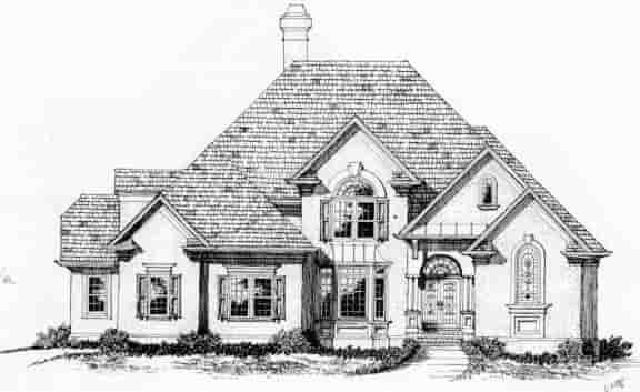 European House Plan 45849 with 4 Beds, 4 Baths, 2 Car Garage Elevation