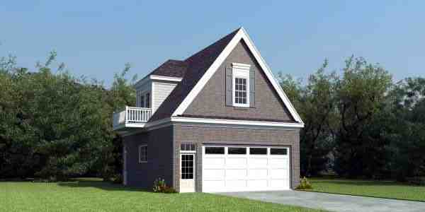 2 Car Garage Apartment Plan 47170 with 1 Beds, 1 Baths Elevation