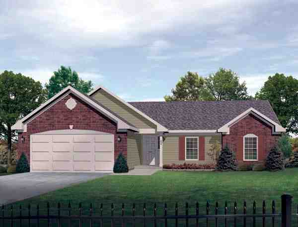 One-Story House Plan 49107 with 3 Beds, 3 Baths, 2 Car Garage Elevation