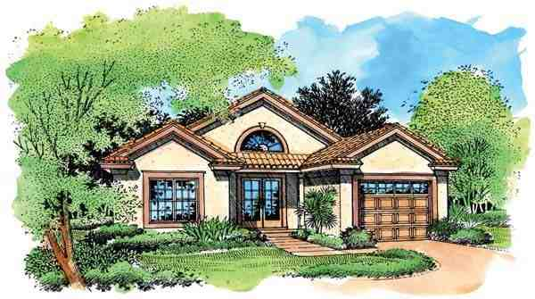 Narrow Lot, One-Story, Southwest House Plan 51151 with 2 Beds, 2 Baths, 1 Car Garage Elevation