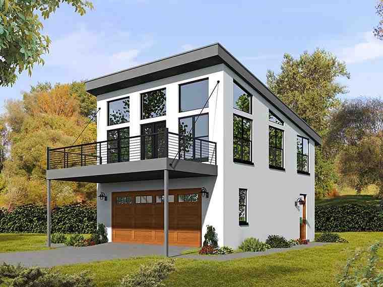 Contemporary, Modern Garage-Living Plan 51521 with 1 Beds, 2 Baths, 2 Car Garage Elevation