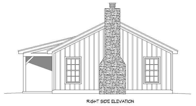Cabin, Ranch House Plan 51658 with 2 Beds, 1 Baths Picture 1