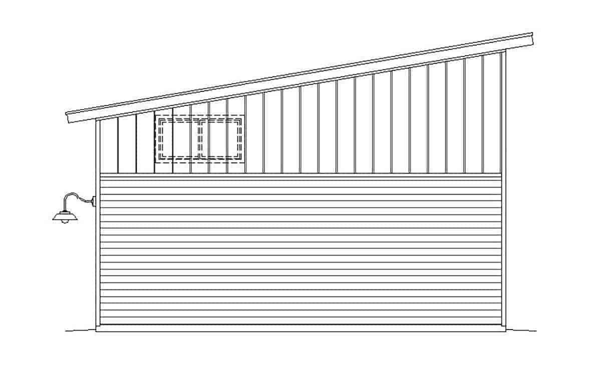Contemporary, Modern 4 Car Garage Plan 51671, RV Storage Rear Elevation