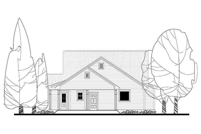 Country, Craftsman, Traditional House Plan 51936 with 4 Beds, 3 Baths, 2 Car Garage Rear Elevation