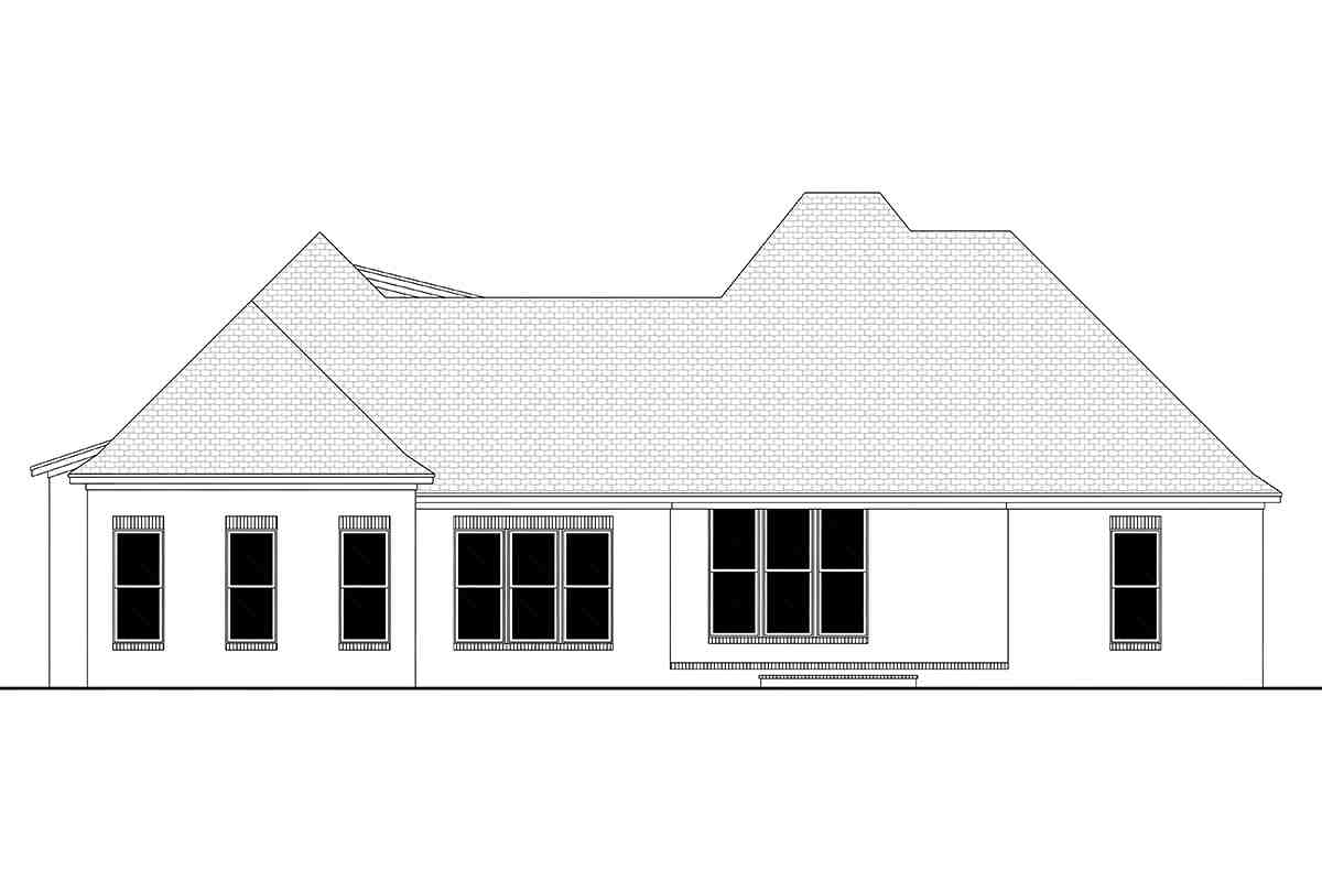European, French Country, Traditional House Plan 51947 with 3 Beds, 3 Baths, 2 Car Garage Rear Elevation