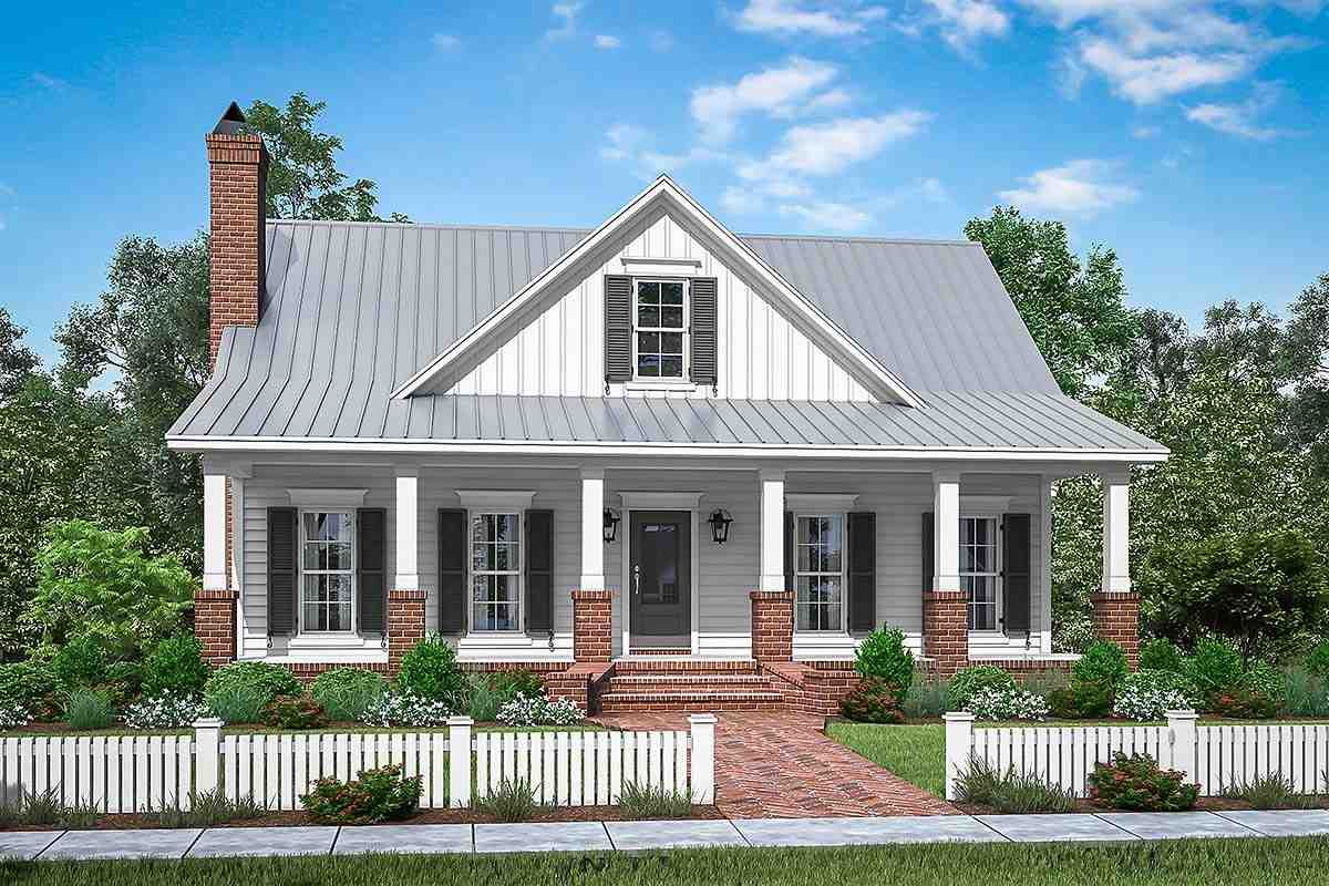 Country, Farmhouse, Traditional House Plan 51994 with 4 Beds, 3 Baths, 2 Car Garage Elevation