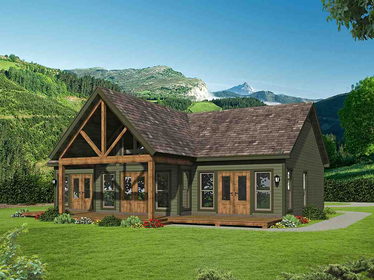 Traditional House Plan 52137 with 2 Beds, 2 Baths Rear Elevation