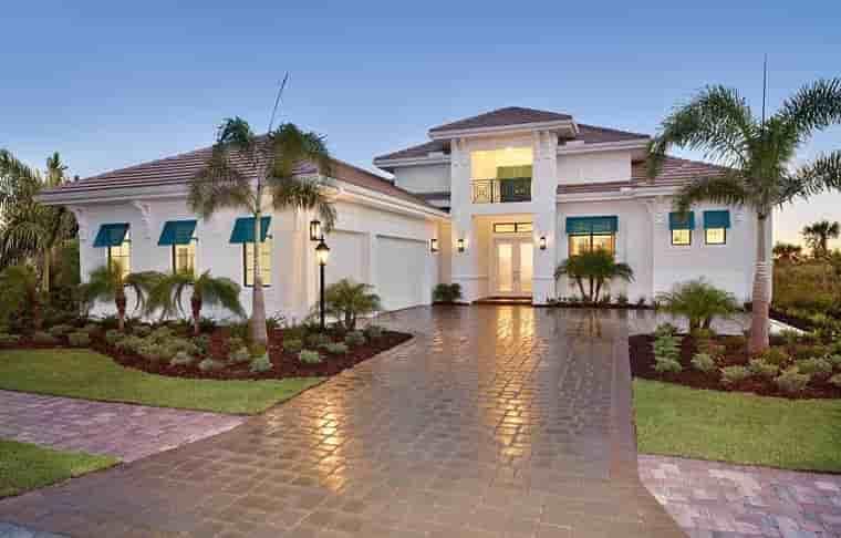 Coastal, Florida, Mediterranean House Plan 52919 with 4 Beds, 5 Baths, 3 Car Garage Elevation