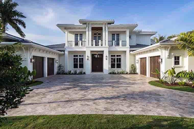 Coastal, Florida, Mediterranean House Plan 52928 with 4 Beds, 6 Baths, 4 Car Garage Elevation