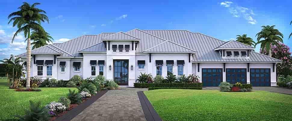 Coastal, Contemporary, Florida, Mediterranean House Plan 52949 with 4 Beds, 5 Baths, 3 Car Garage Elevation
