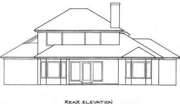 House Plan 53246 with 3 Beds, 3 Baths, 2 Car Garage Rear Elevation