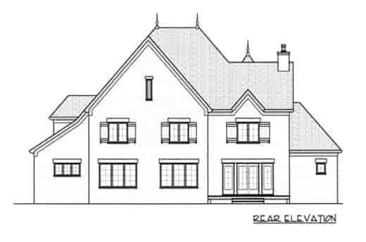 European House Plan 53746 with 5 Beds, 4 Baths, 3 Car Garage Rear Elevation