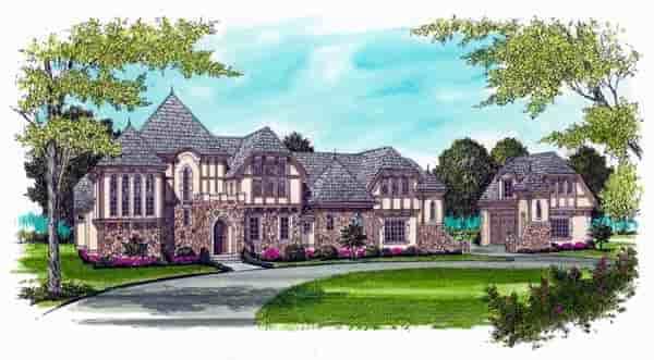 European, Tudor House Plan 53748 with 5 Beds, 7 Baths, 4 Car Garage Elevation