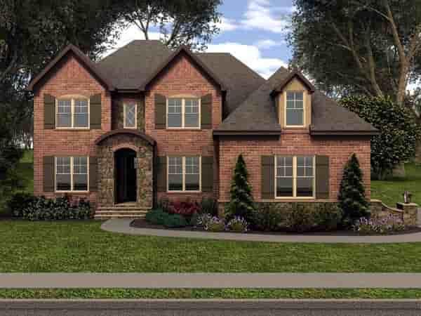 Tudor House Plan 53850 with 5 Beds, 4 Baths, 2 Car Garage Elevation
