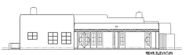 Santa Fe, Southwest House Plan 54611 with 3 Beds, 2 Baths, 2 Car Garage Rear Elevation
