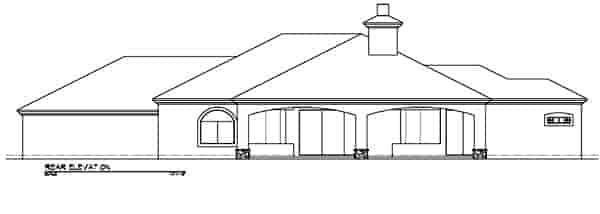 Southwest House Plan 54636 with 3 Beds, 3 Baths, 3 Car Garage Rear Elevation