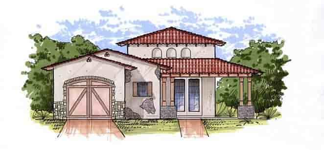 Mediterranean House Plan 54721 with 1 Beds, 1 Baths, 1 Car Garage Elevation