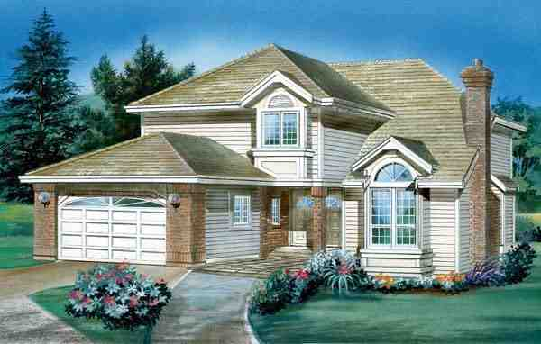 Narrow Lot, Traditional House Plan 55043 with 3 Beds, 3 Baths, 2 Car Garage Elevation