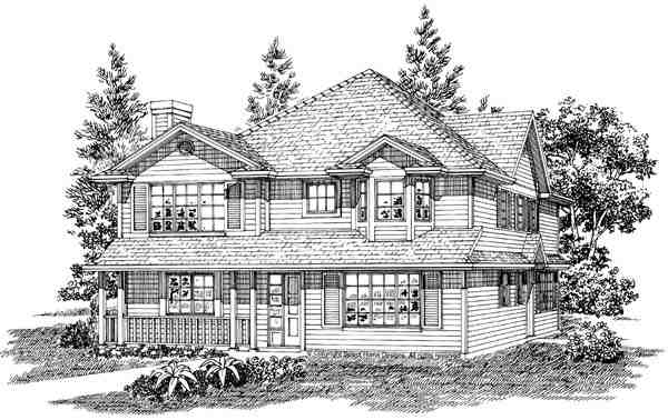 Narrow Lot, Traditional Multi-Family Plan 55354 with 6 Beds, 4 Baths Elevation