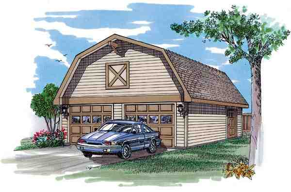 2 Car Garage Plan 55526 Elevation