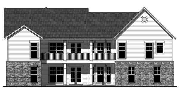 Cottage, Country, Craftsman House Plan 55603 with 3 Beds, 2 Baths, 2 Car Garage Rear Elevation