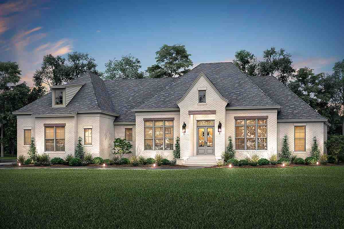 Country, European, French Country House Plan 56701 with 4 Beds, 3 Baths, 3 Car Garage Elevation