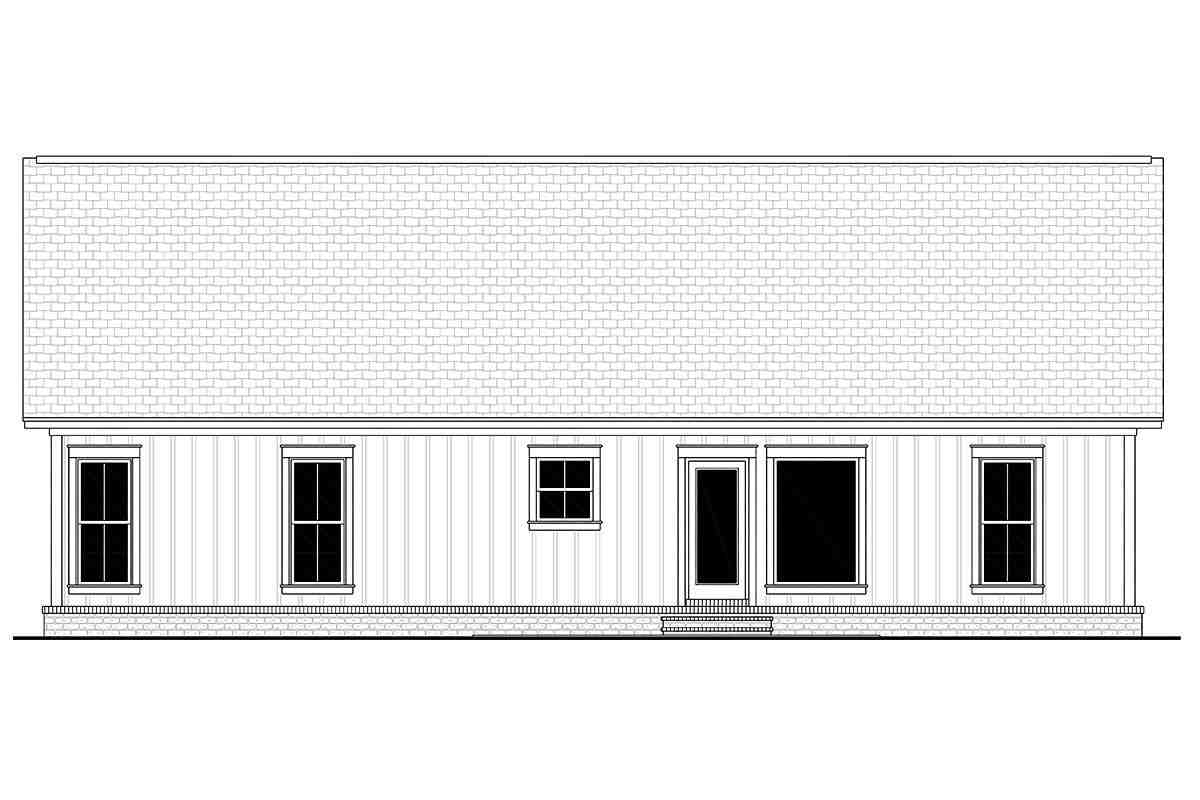 Country, Farmhouse, Traditional House Plan 56705 with 3 Beds, 2 Baths, 2 Car Garage Rear Elevation