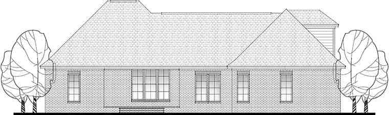 French Country, Traditional House Plan 56906 with 3 Beds, 2 Baths, 2 Car Garage Rear Elevation