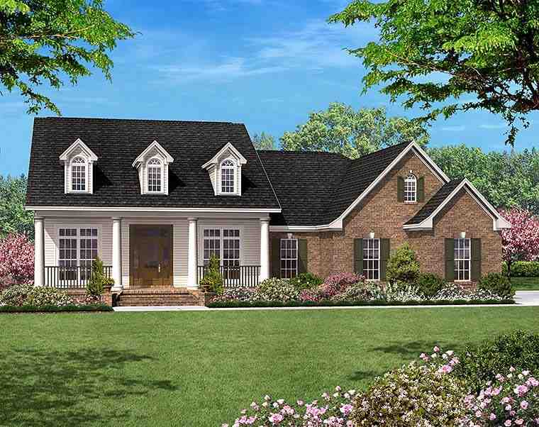 Colonial, Country, Ranch, Southern House Plan 56950 with 3 Beds, 2 Baths, 2 Car Garage Elevation