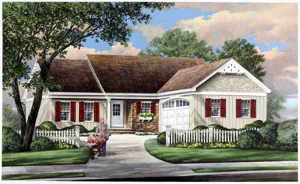 Ranch, Traditional House Plan 57069 with 3 Beds, 2 Baths, 2 Car Garage Elevation
