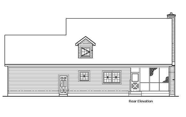 Country House Plan 57335 with 3 Beds, 2 Baths, 2 Car Garage Rear Elevation