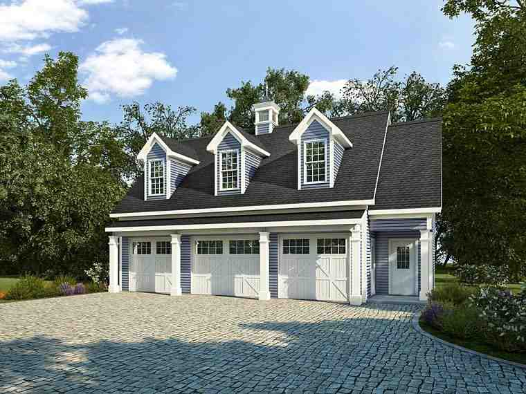 Colonial, Country, Southern Garage-Living Plan 58248 with 1 Beds, 1 Baths, 3 Car Garage Elevation