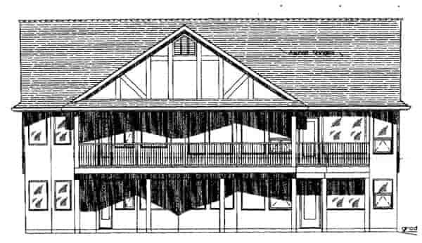Tudor House Plan 58529 with 3 Beds, 2 Baths, 2 Car Garage Rear Elevation