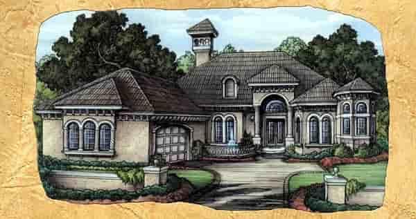 Florida House Plan 58918 with 3 Beds, 4 Baths, 2 Car Garage Elevation