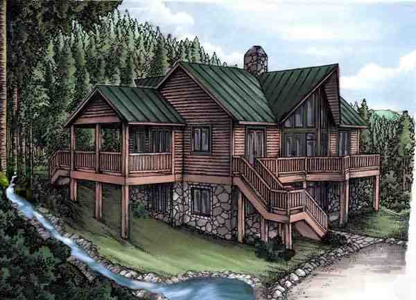 Cabin, Log House Plan 58983 with 4 Beds, 4 Baths Elevation