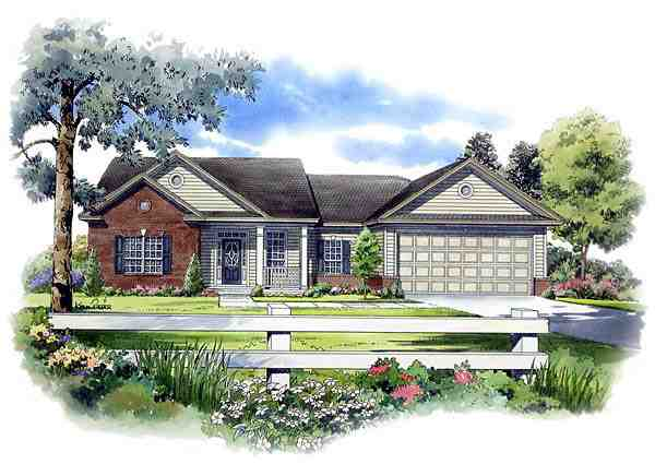 Cape Cod, Ranch, Traditional House Plan 59052 with 3 Beds, 2 Baths, 2 Car Garage Elevation