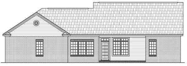 Cape Cod, Ranch, Traditional House Plan 59052 with 3 Beds, 2 Baths, 2 Car Garage Rear Elevation