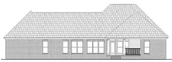 Country, Farmhouse, French Country, Southern House Plan 59072 with 3 Beds, 3 Baths, 2 Car Garage Rear Elevation