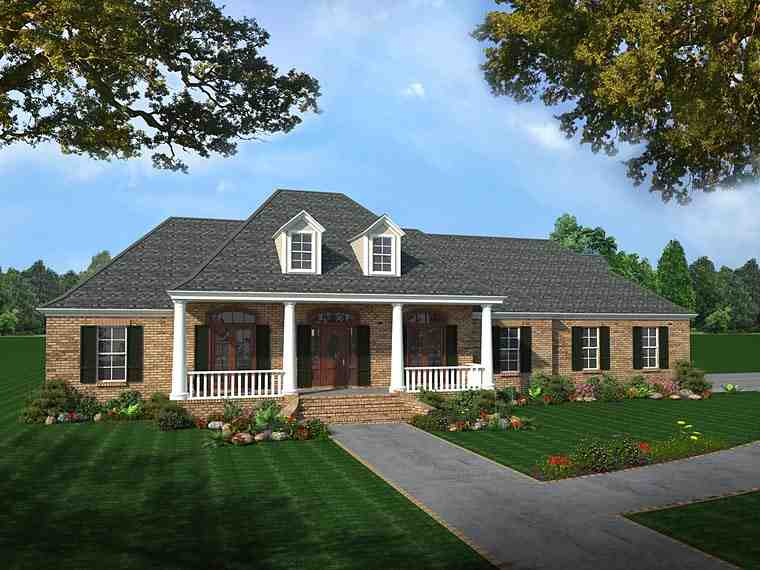 Colonial, Country, European, Southern House Plan 59075 with 4 Beds, 3 Baths, 2 Car Garage Elevation