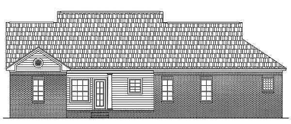 Country, Ranch, Southern, Traditional House Plan 59080 with 3 Beds, 2 Baths, 2 Car Garage Rear Elevation