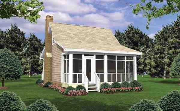 Cottage, Country, Southern House Plan 59109 with 1 Beds, 1 Baths Rear Elevation