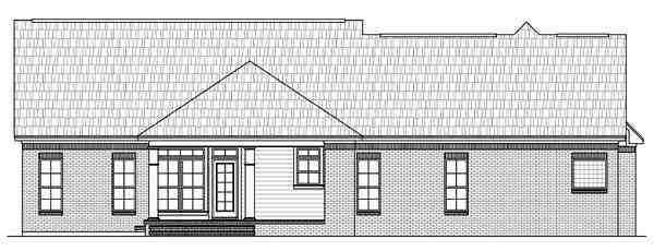 Country, European, French Country, Traditional House Plan 59139 with 3 Beds, 3 Baths, 3 Car Garage Rear Elevation
