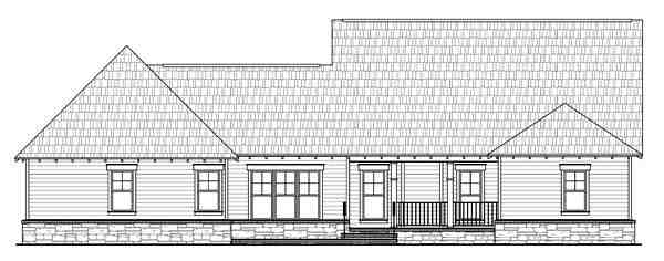Bungalow, Country, Craftsman House Plan 59198 with 4 Beds, 3 Baths, 2 Car Garage Rear Elevation