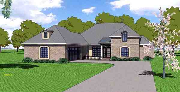 Contemporary, Florida, Southern House Plan 59301 with 4 Beds, 4 Baths, 2 Car Garage Elevation