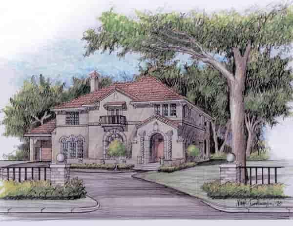 European, Mediterranean, Traditional House Plan 59502 with 4 Beds, 4 Baths, 2 Car Garage Elevation
