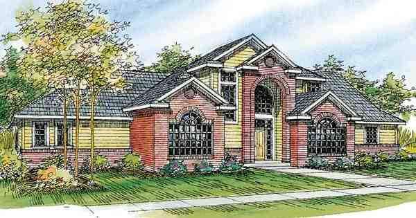 Contemporary, European, Traditional House Plan 59708 with 3 Beds, 3 Baths, 3 Car Garage Elevation