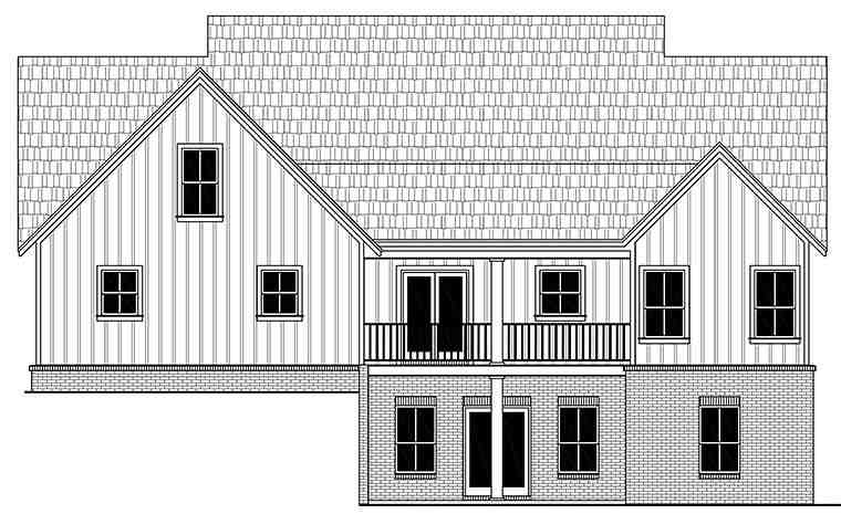 Country, Farmhouse, Southwest House Plan 59999 with 3 Beds, 3 Baths, 2 Car Garage Rear Elevation