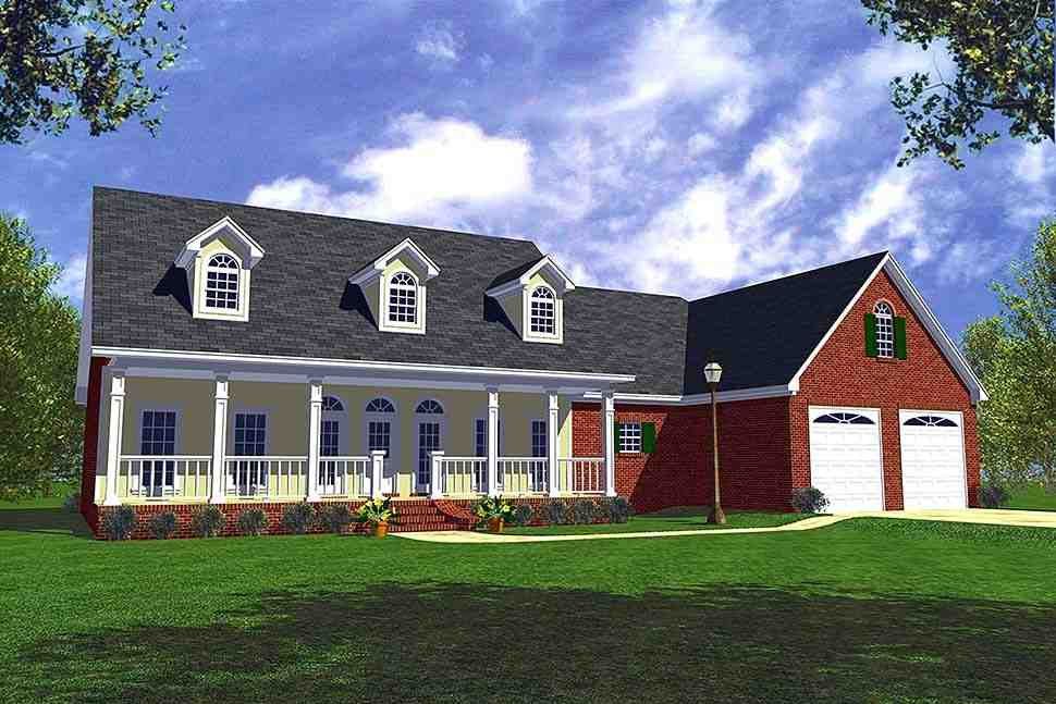 Country, Traditional House Plan 60104 with 3 Beds, 3 Baths, 2 Car Garage Elevation