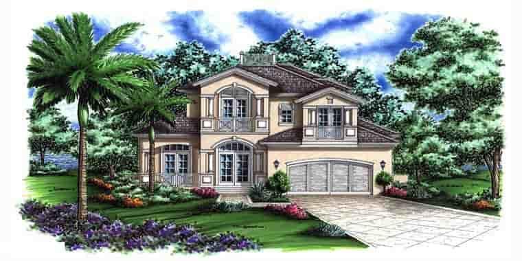 Florida, Mediterranean House Plan 60794 with 4 Beds, 6 Baths, 2 Car Garage Elevation