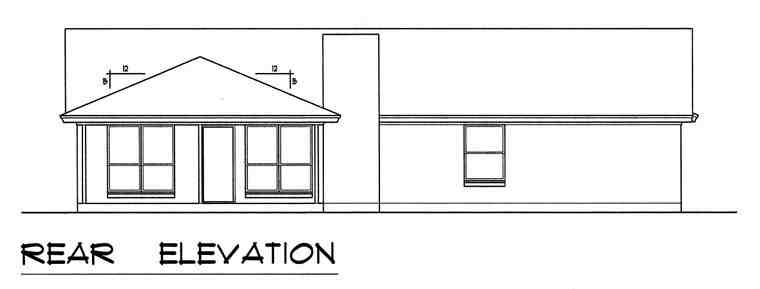 Contemporary House Plan 60828 with 3 Beds, 2 Baths, 2 Car Garage Rear Elevation